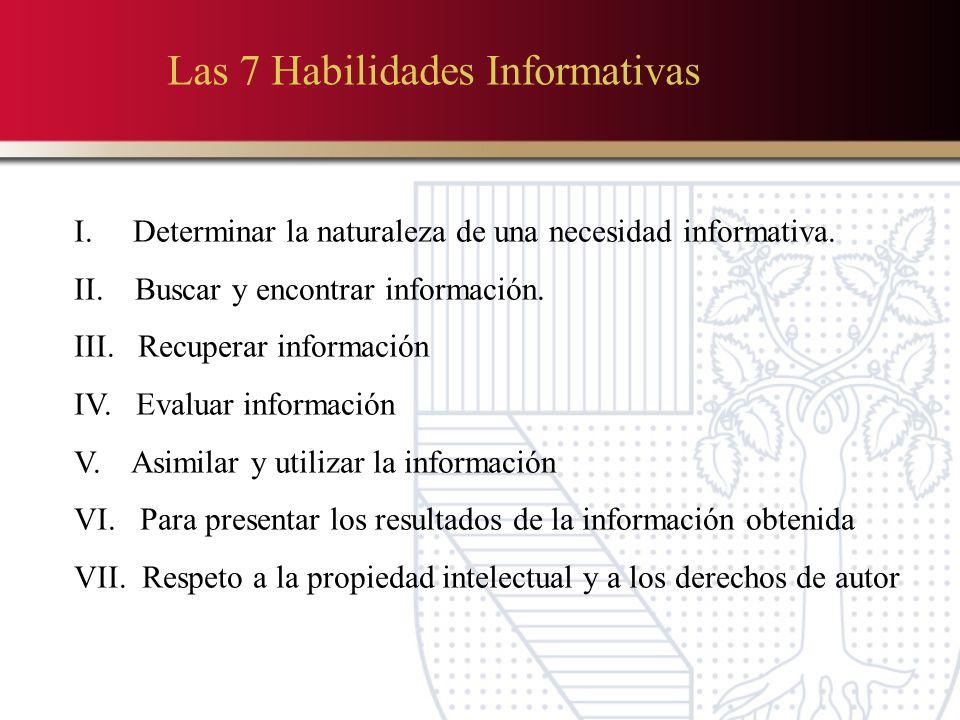 Las 7 Habilidades Informativas I.Determinar la naturaleza de una necesidad informativa.