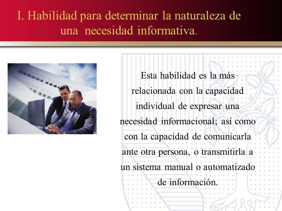 I.Habilidad para determinar la naturaleza de una necesidad informativa.
