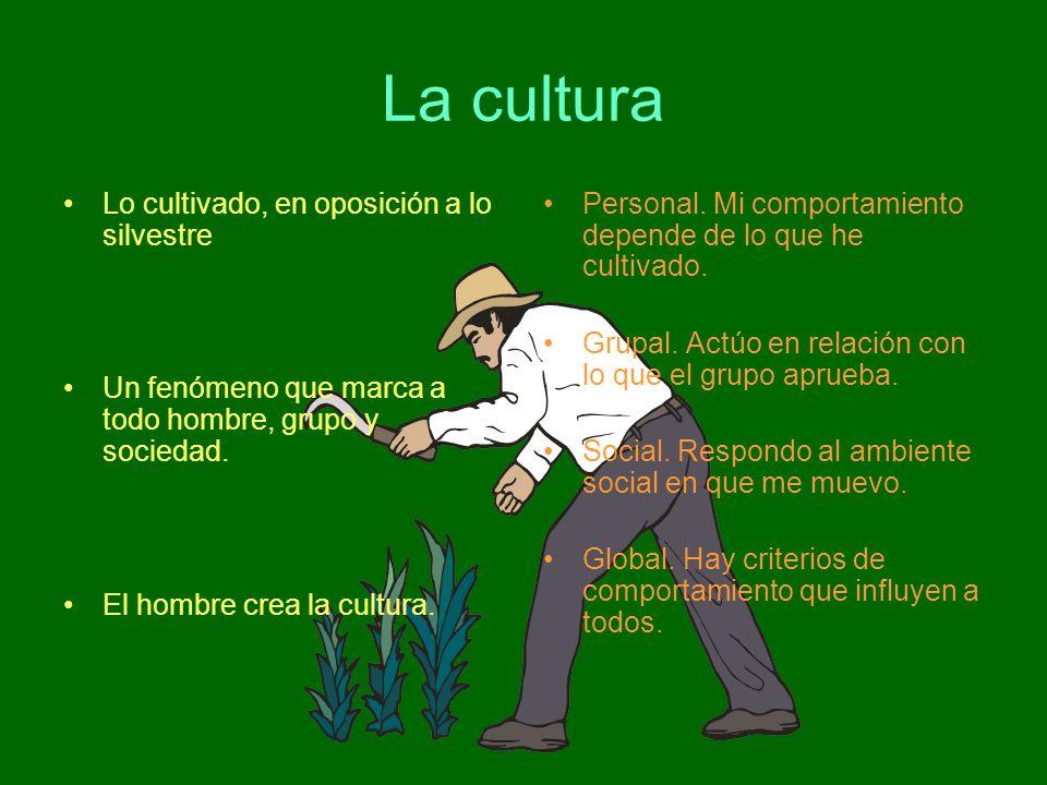 La cultura Lo cultivado, en oposición a lo silvestre Un fenómeno que marca a todo hombre, grupo y sociedad. El hombre crea la cultura. Personal. Mi co