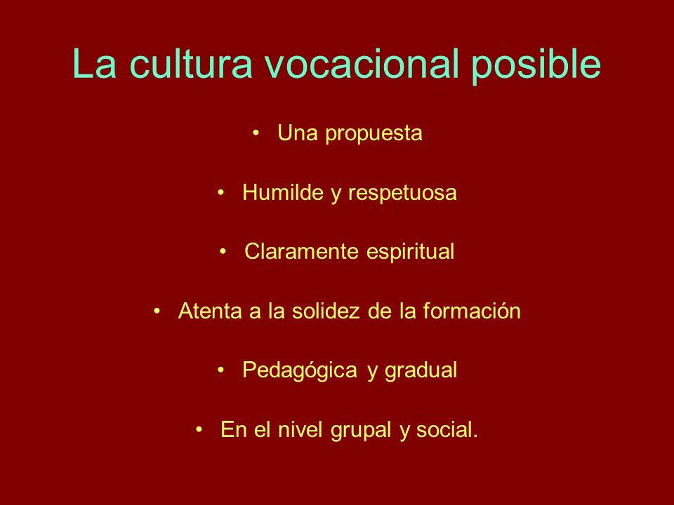 La cultura vocacional posible Una propuesta Humilde y respetuosa Claramente espiritual Atenta a la solidez de la formación Pedagógica y gradual En el