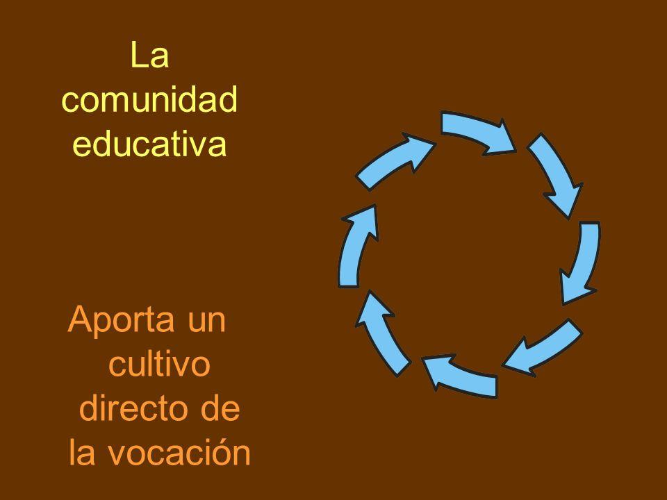 La comunidad educativa Aporta un cultivo directo de la vocación