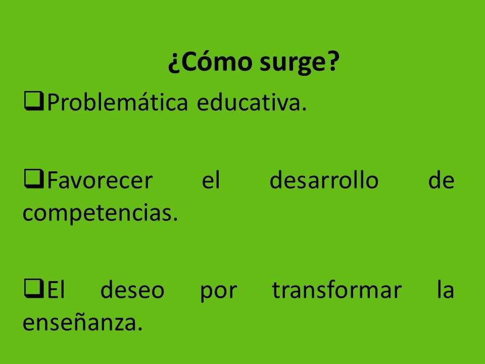 ¿Cómo surge? Problemática educativa. Favorecer el desarrollo de competencias. El deseo por transformar la enseñanza.