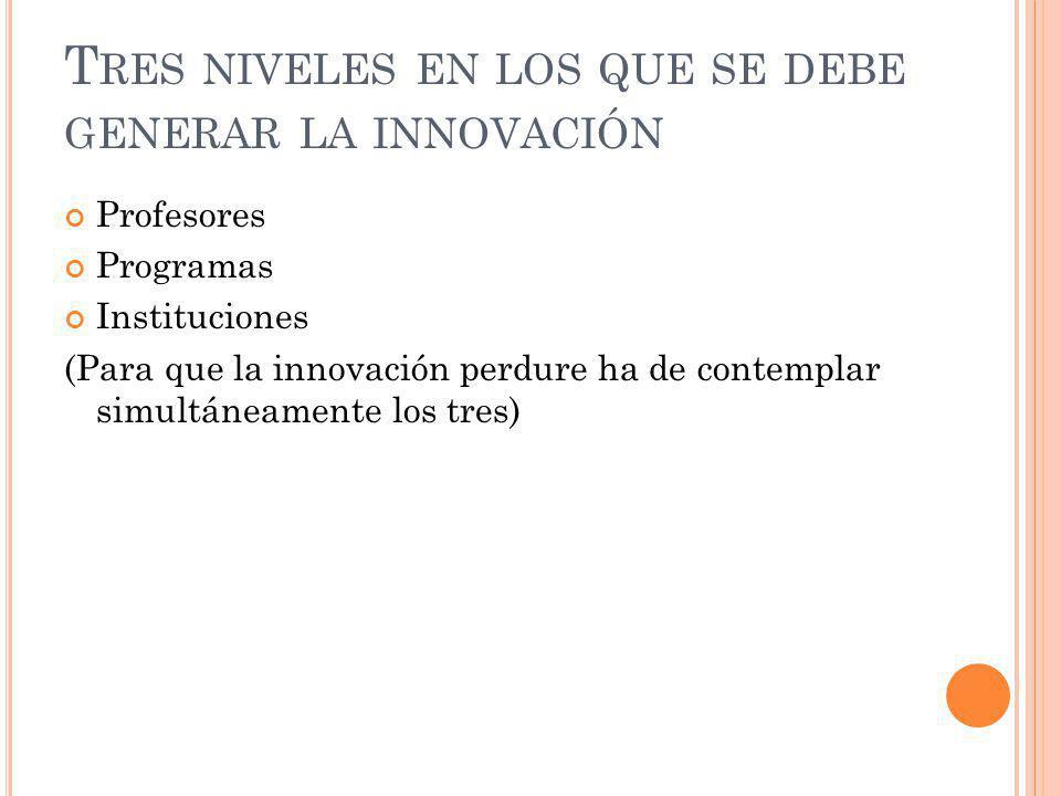 T RES NIVELES EN LOS QUE SE DEBE GENERAR LA INNOVACIÓN Profesores Programas Instituciones (Para que la innovación perdure ha de contemplar simultáneam
