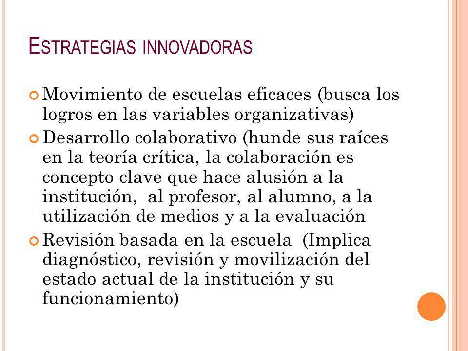 E STRATEGIAS INNOVADORAS Movimiento de escuelas eficaces (busca los logros en las variables organizativas) Desarrollo colaborativo (hunde sus raíces e