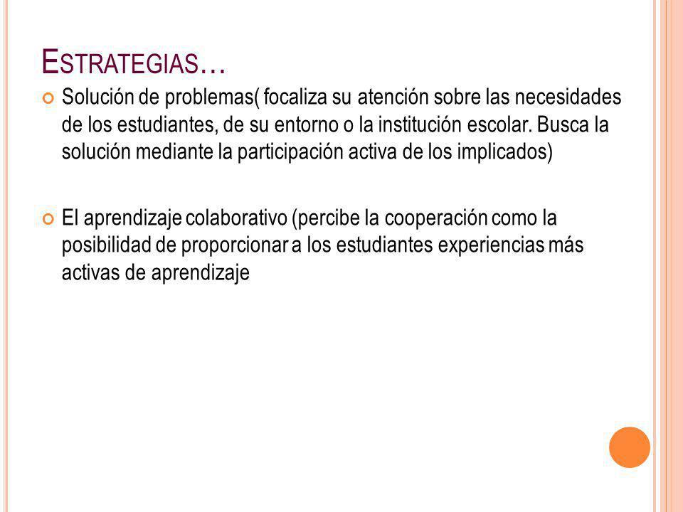 E STRATEGIAS … Solución de problemas( focaliza su atención sobre las necesidades de los estudiantes, de su entorno o la institución escolar. Busca la