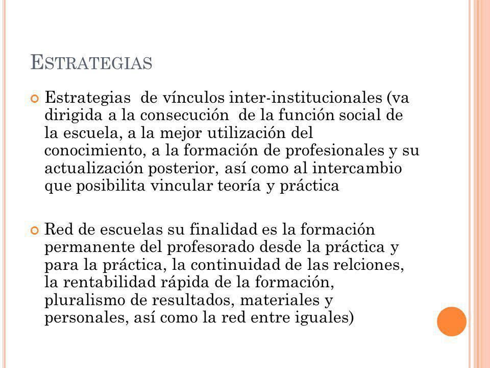 E STRATEGIAS Estrategias de vínculos inter-institucionales (va dirigida a la consecución de la función social de la escuela, a la mejor utilización de