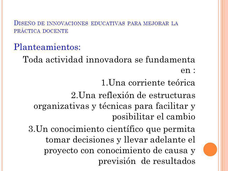 D ISEÑO DE INNOVACIONES EDUCATIVAS PARA MEJORAR LA PRÁCTICA DOCENTE Planteamientos: Toda actividad innovadora se fundamenta en : 1.Una corriente teóri