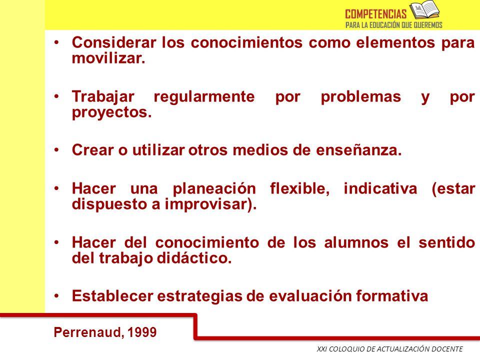 XXI COLOQUIO DE ACTUALIZACIÓN DOCENTE Considerar los conocimientos como elementos para movilizar. Trabajar regularmente por problemas y por proyectos.