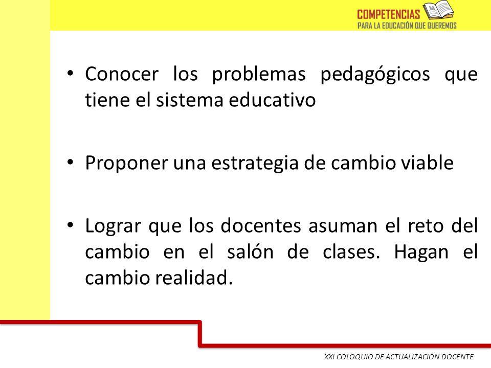 XXI COLOQUIO DE ACTUALIZACIÓN DOCENTE Conocer los problemas pedagógicos que tiene el sistema educativo Proponer una estrategia de cambio viable Lograr