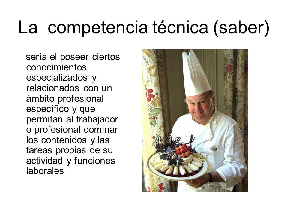 La competencia técnica (saber) sería el poseer ciertos conocimientos especializados y relacionados con un ámbito profesional específico y que permitan
