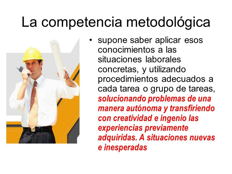 La competencia metodológica supone saber aplicar esos conocimientos a las situaciones laborales concretas, y utilizando procedimientos adecuados a cad
