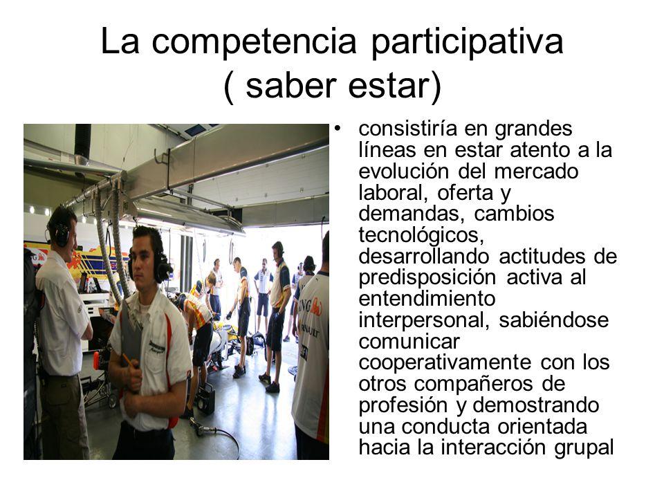 La competencia participativa ( saber estar) consistiría en grandes líneas en estar atento a la evolución del mercado laboral, oferta y demandas, cambi