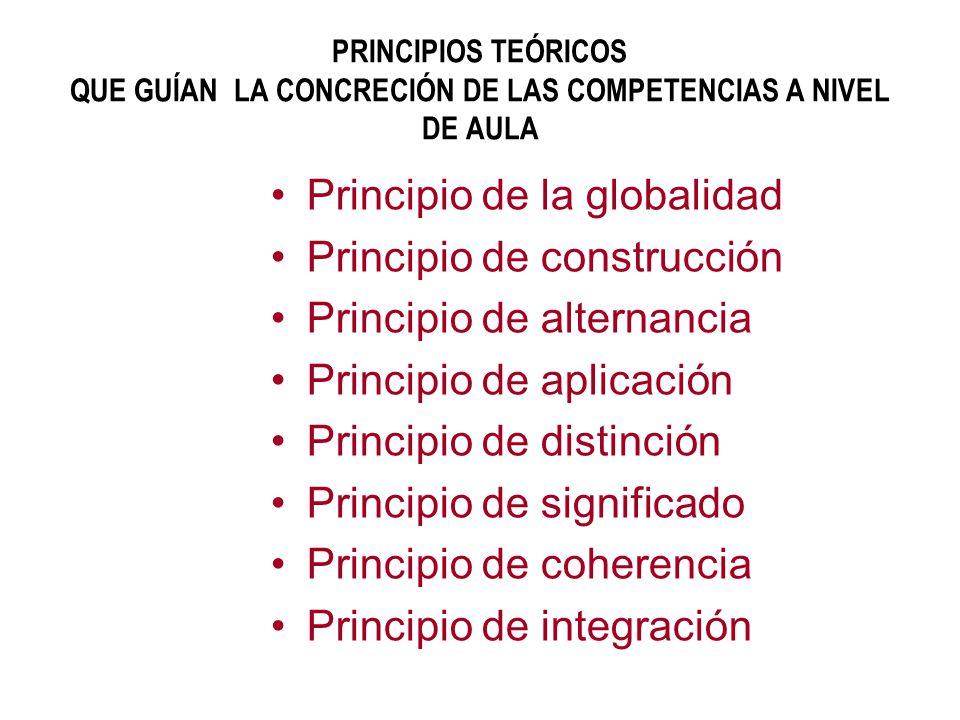 PRINCIPIOS TEÓRICOS QUE GUÍAN LA CONCRECIÓN DE LAS COMPETENCIAS A NIVEL DE AULA Principio de la globalidad Principio de construcción Principio de alte