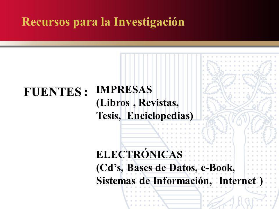 FUENTES : IMPRESAS (Libros, Revistas, Tesis, Enciclopedias) ELECTRÓNICAS (Cds, Bases de Datos, e-Book, Sistemas de Información, Internet ) Recursos pa