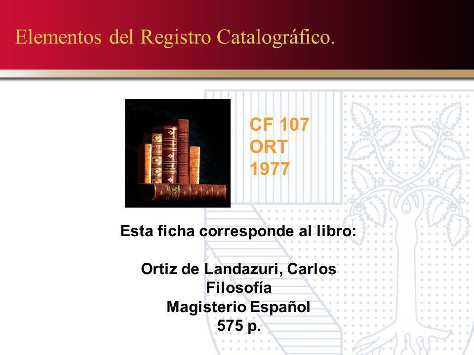 Elementos del Registro Catalográfico. CF 107 ORT 1977 Esta ficha corresponde al libro: Ortiz de Landazuri, Carlos Filosofía Magisterio Español 575 p.