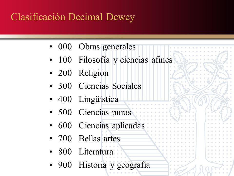 Clasificación Decimal Dewey 000 Obras generales 100 Filosofía y ciencias afines 200 Religión 300 Ciencias Sociales 400 Lingüística 500 Ciencias puras