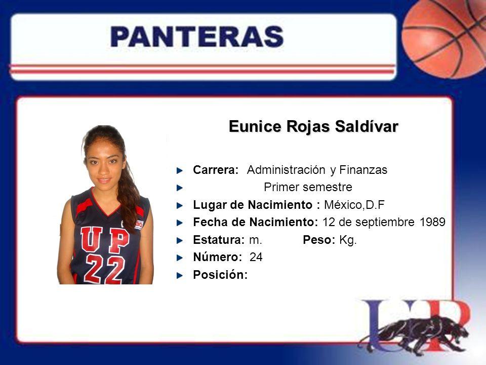 Eunice Rojas Saldívar Carrera: Administración y Finanzas Primer semestre Lugar de Nacimiento : México,D.F Fecha de Nacimiento: 12 de septiembre 1989 E