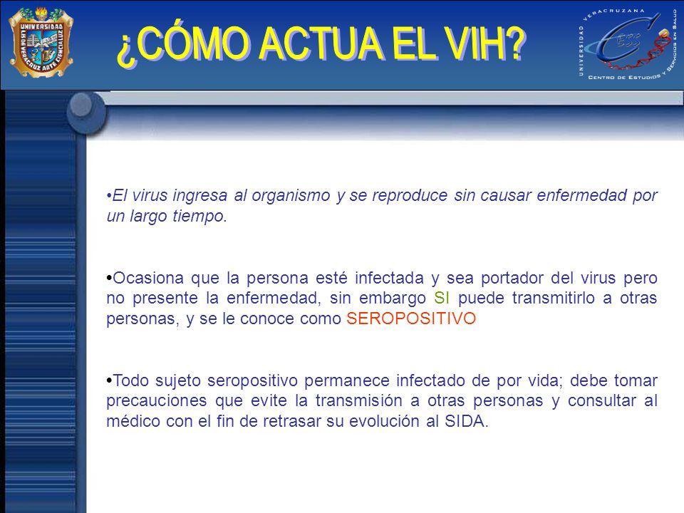 El virus ingresa al organismo y se reproduce sin causar enfermedad por un largo tiempo. Ocasiona que la persona esté infectada y sea portador del viru