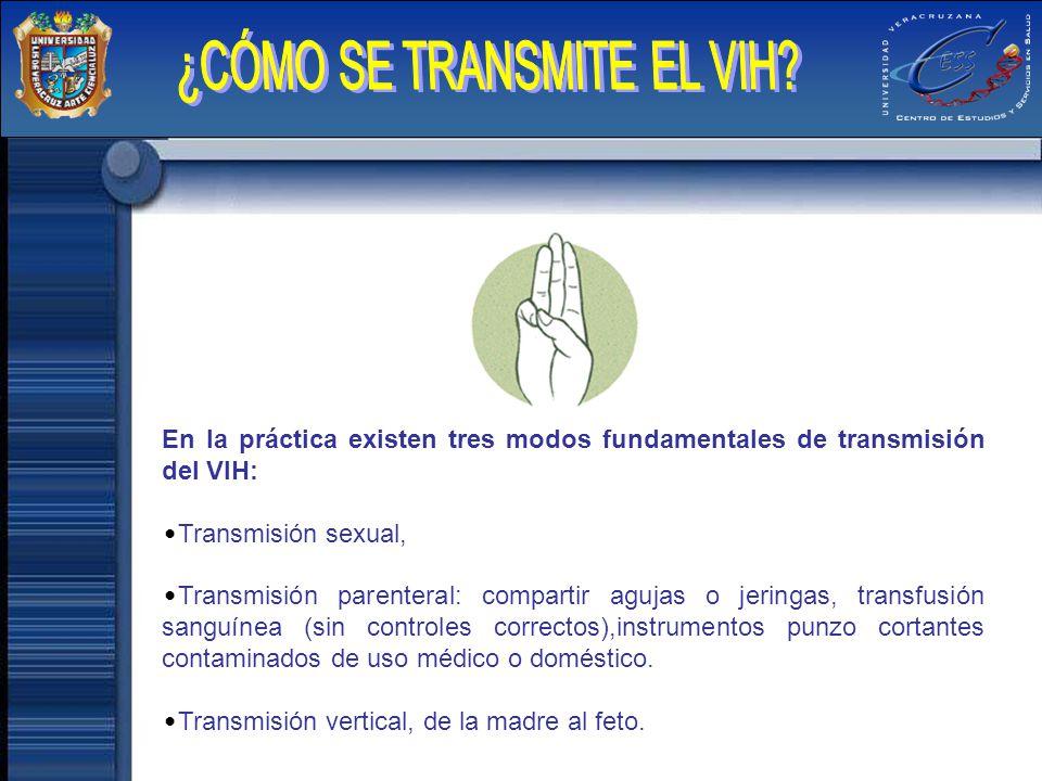 En la práctica existen tres modos fundamentales de transmisión del VIH: Transmisión sexual, Transmisión parenteral: compartir agujas o jeringas, trans