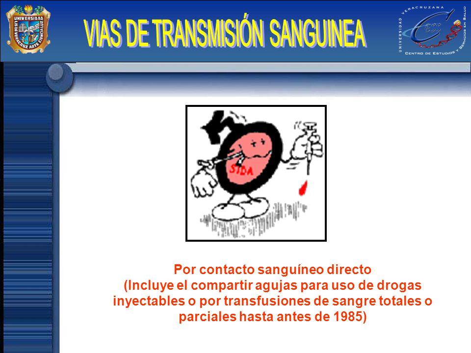 Por contacto sanguíneo directo (Incluye el compartir agujas para uso de drogas inyectables o por transfusiones de sangre totales o parciales hasta ant