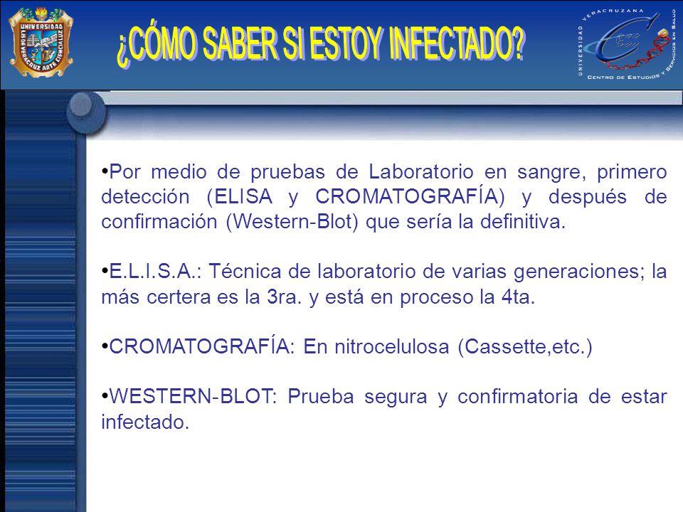 Por medio de pruebas de Laboratorio en sangre, primero detección (ELISA y CROMATOGRAFÍA) y después de confirmación (Western-Blot) que sería la definit