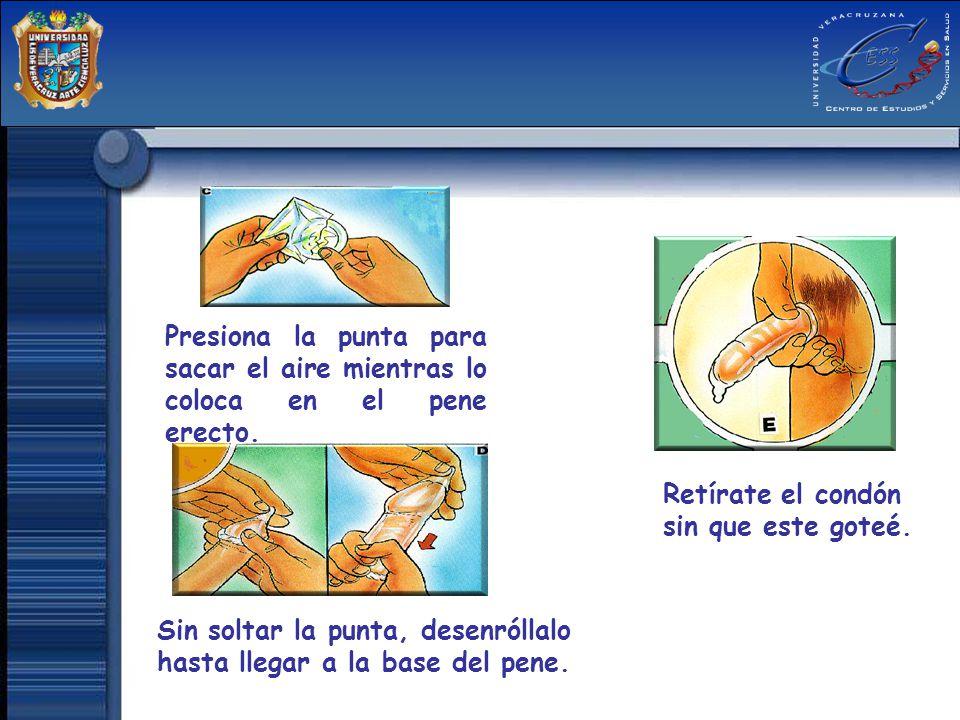 Presiona la punta para sacar el aire mientras lo coloca en el pene erecto. Sin soltar la punta, desenróllalo hasta llegar a la base del pene. Retírate