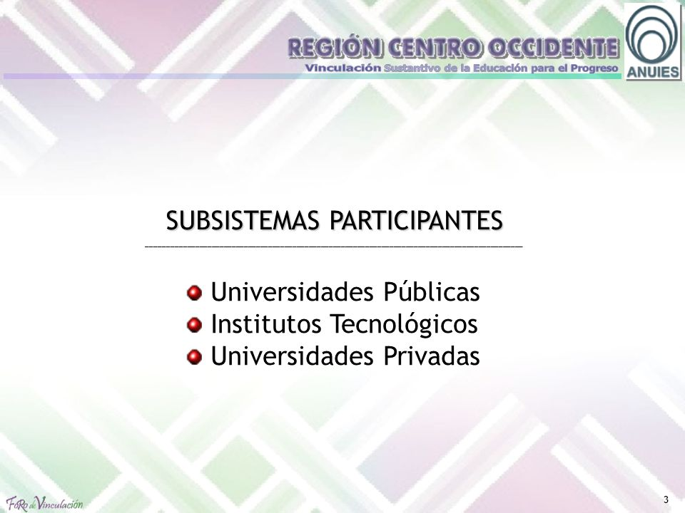3 SUBSISTEMAS PARTICIPANTES _____________________________________________________________________________________________ Universidades Públicas Institutos Tecnológicos Universidades Privadas