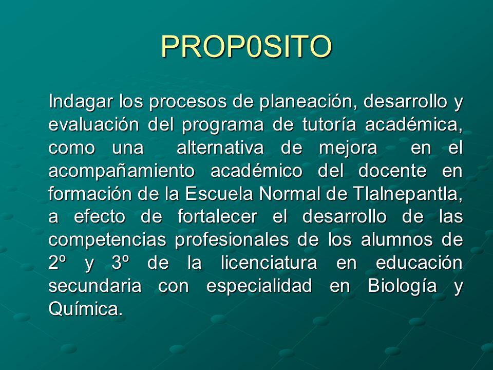 OBJETIVOS Implementar un programa de tutoría académica como un proceso académico sistemático del docente en formación de la licenciatura en educación secundaria con especialidad en biología y química, con el fin de fortalecer en tiempo y forma, las competencias profesionales del perfil de egreso.