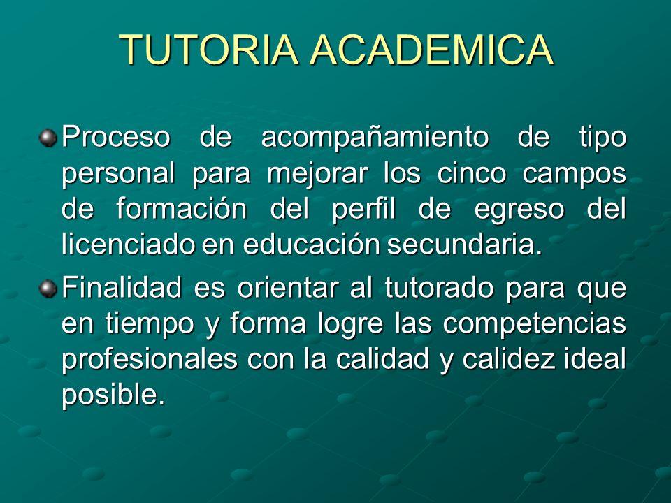TUTORIA ACADEMICA Proceso de acompañamiento de tipo personal para mejorar los cinco campos de formación del perfil de egreso del licenciado en educación secundaria.