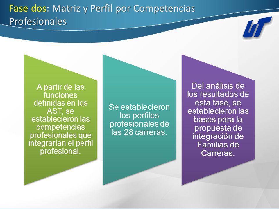 Fase dos: Matriz y Perfil por Competencias Profesionales A partir de las funciones definidas en los AST, se establecieron las competencias profesional