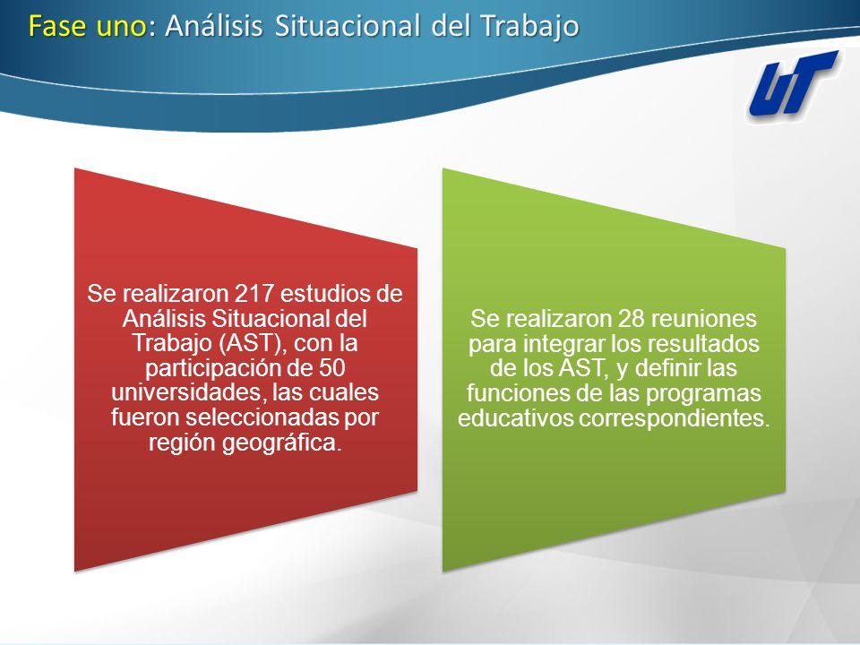 Fase uno: Análisis Situacional del Trabajo Se realizaron 217 estudios de Análisis Situacional del Trabajo (AST), con la participación de 50 universida