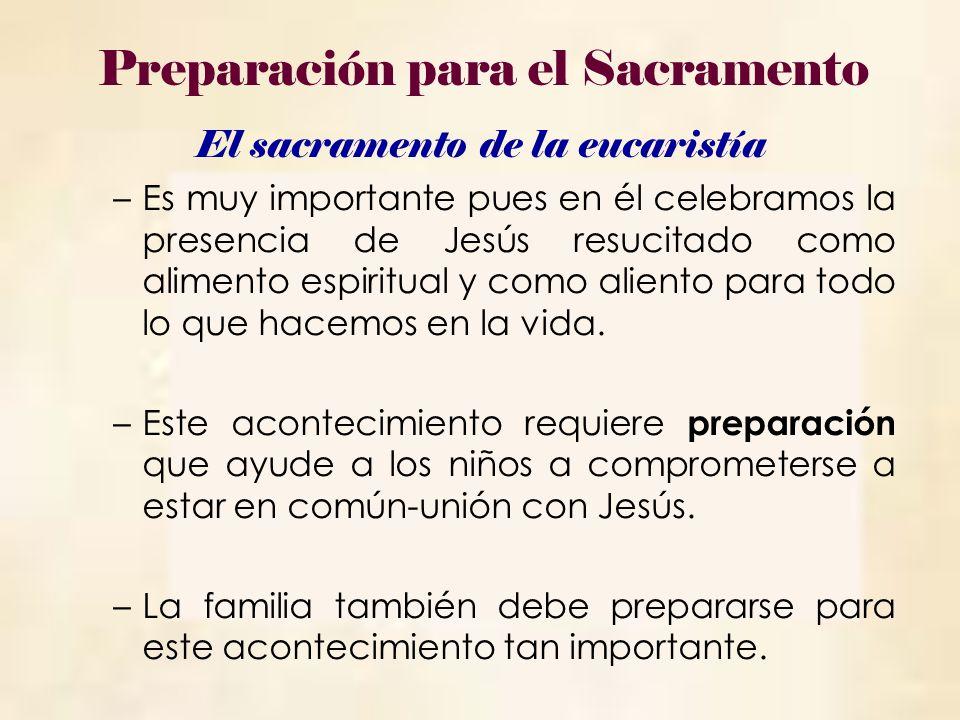 El sacramento de la eucaristía –Es muy importante pues en él celebramos la presencia de Jesús resucitado como alimento espiritual y como aliento para todo lo que hacemos en la vida.
