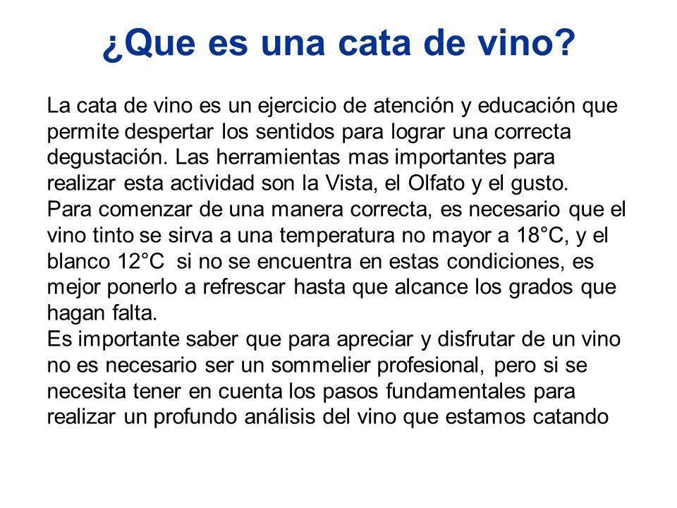 ¿Que es una cata de vino? La cata de vino es un ejercicio de atención y educación que permite despertar los sentidos para lograr una correcta degustac