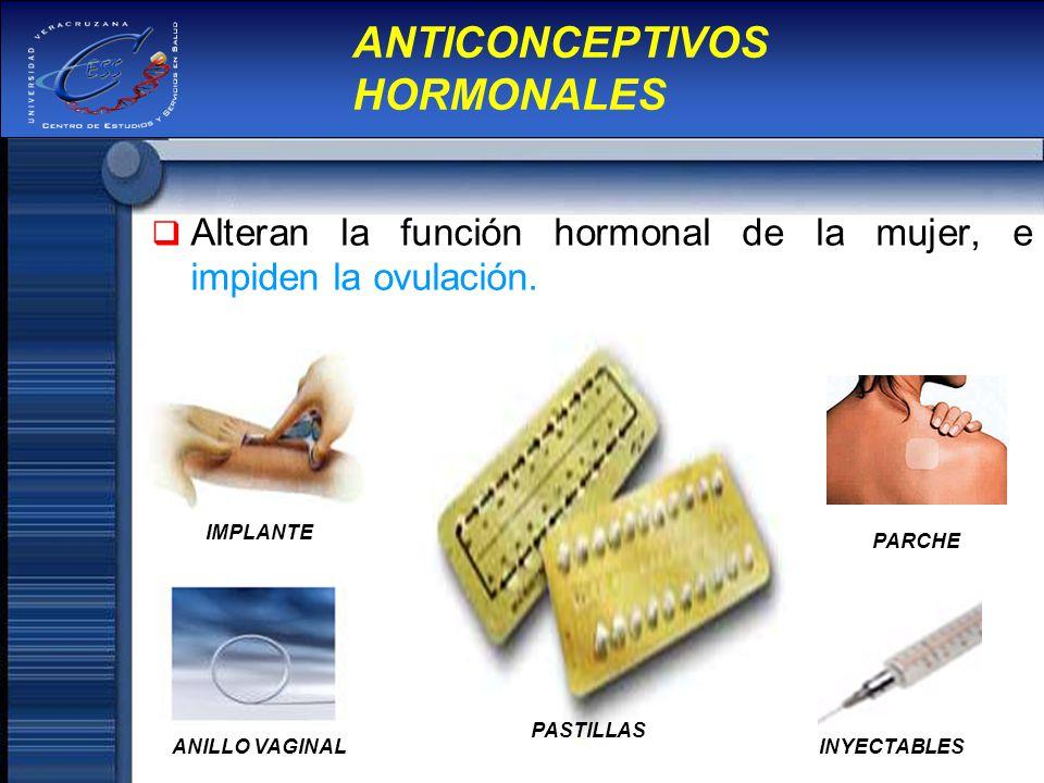 Alteran la función hormonal de la mujer, e impiden la ovulación. ANTICONCEPTIVOS HORMONALES IMPLANTE ANILLO VAGINAL PARCHE INYECTABLES PASTILLAS