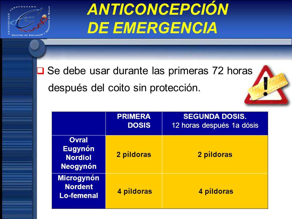 ANTICONCEPCIÓN DE EMERGENCIA Se debe usar durante las primeras 72 horas después del coito sin protección. PRIMERA DOSIS SEGUNDA DOSIS. 12 horas despué