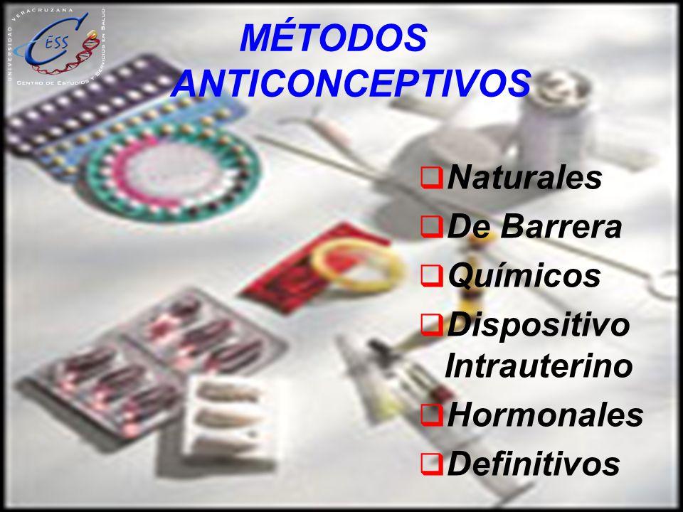 MÉTODOS ANTICONCEPTIVOS Naturales De Barrera Químicos Dispositivo Intrauterino Hormonales Definitivos