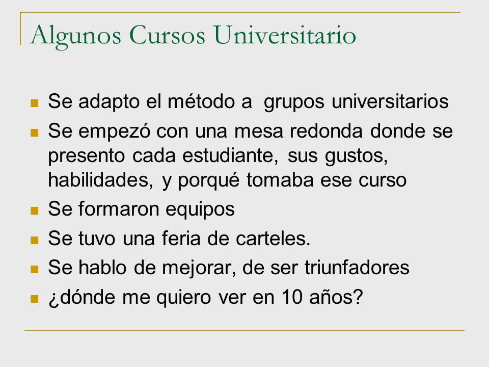 Algunos Cursos Universitario Se adapto el método a grupos universitarios Se empezó con una mesa redonda donde se presento cada estudiante, sus gustos,