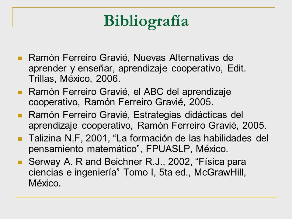 Bibliografía Ramón Ferreiro Gravié, Nuevas Alternativas de aprender y enseñar, aprendizaje cooperativo, Edit. Trillas, México, 2006. Ramón Ferreiro Gr