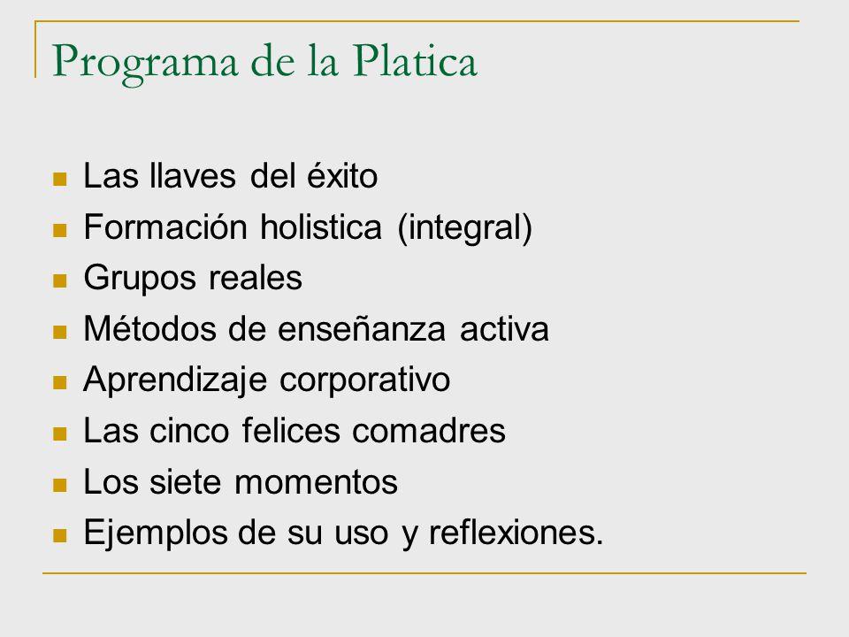 Programa de la Platica Las llaves del éxito Formación holistica (integral) Grupos reales Métodos de enseñanza activa Aprendizaje corporativo Las cinco