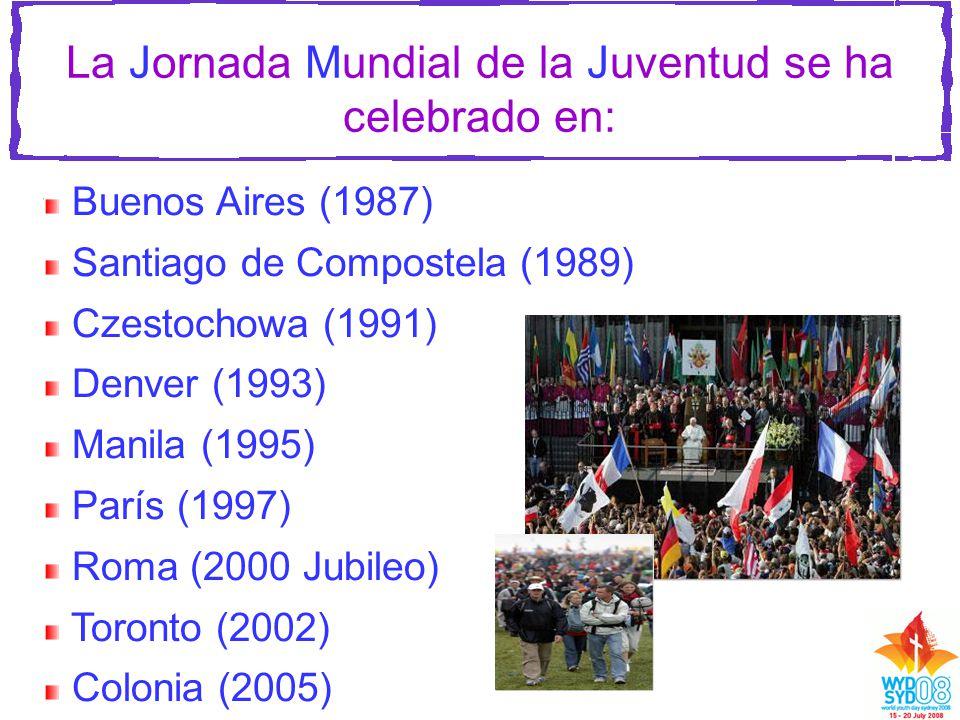 La Jornada Mundial de la Juventud se ha celebrado en: Buenos Aires (1987) Santiago de Compostela (1989) Czestochowa (1991) Denver (1993) Manila (1995) París (1997) Roma (2000 Jubileo) Toronto (2002) Colonia (2005)