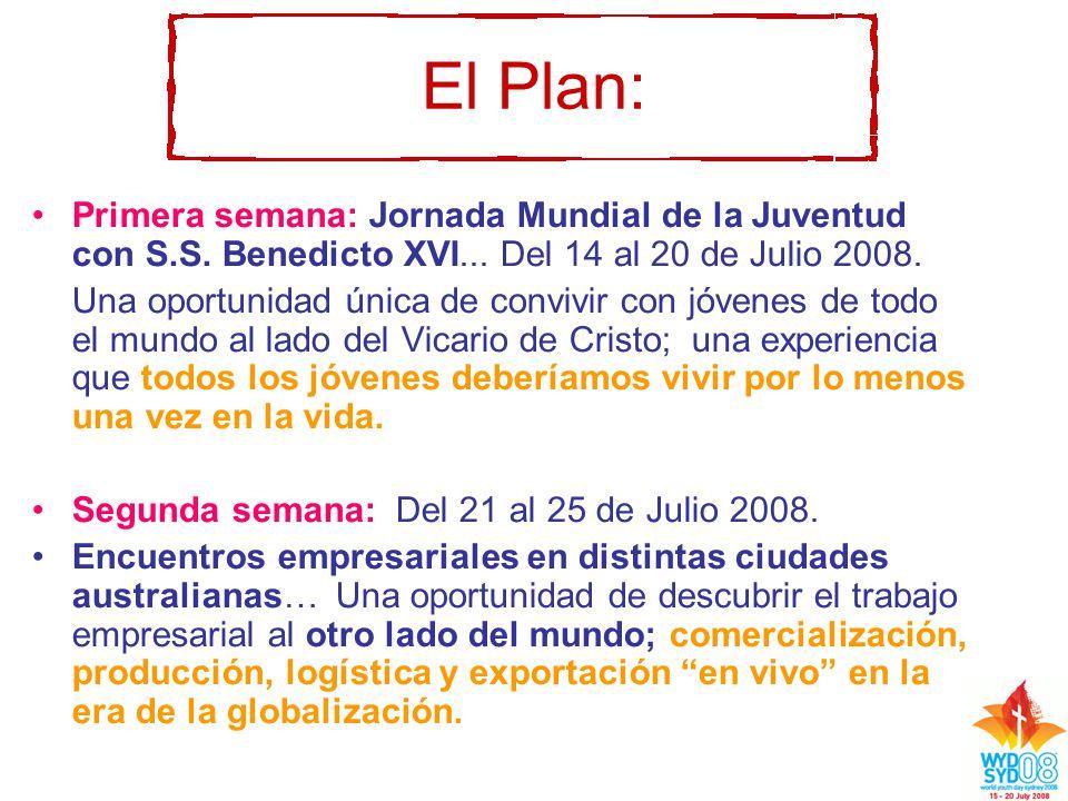 El Plan: Primera semana: Jornada Mundial de la Juventud con S.S.