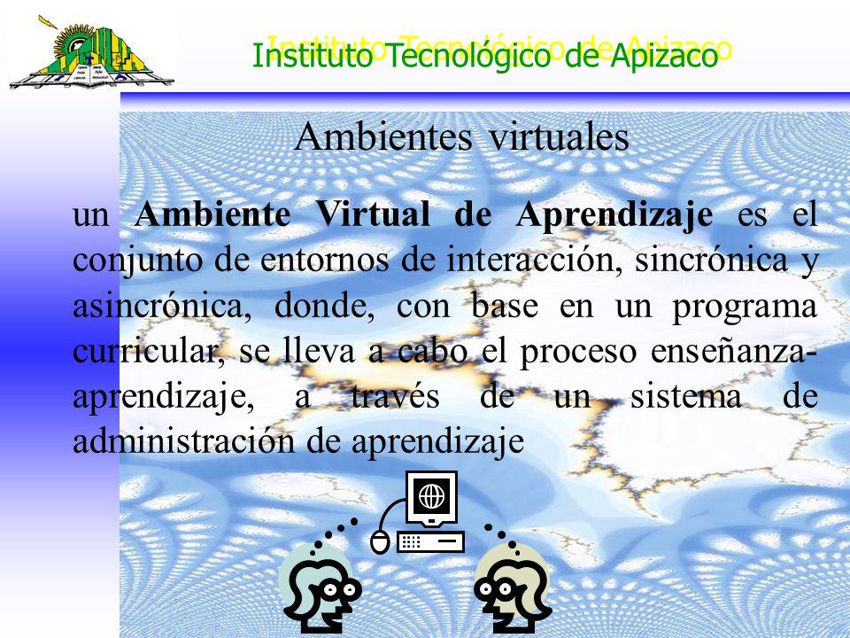 Instituto Tecnológico de Apizaco un Ambiente Virtual de Aprendizaje es el conjunto de entornos de interacción, sincrónica y asincrónica, donde, con ba