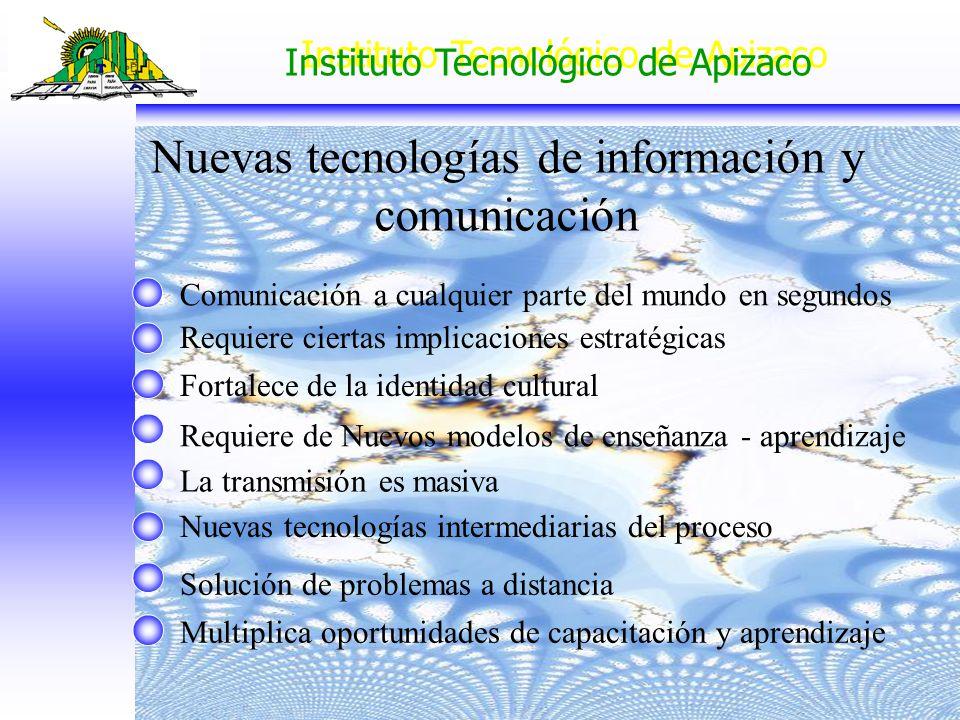 Instituto Tecnológico de Apizaco Nuevas tecnologías de información y comunicación Comunicación a cualquier parte del mundo en segundos Requiere cierta