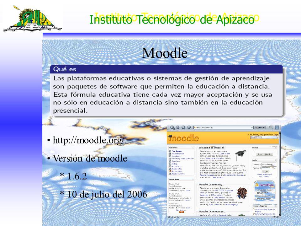 Instituto Tecnológico de Apizaco Moodle http://moodle.org/ Versión de moodle * 1.6.2 * 10 de julio del 2006