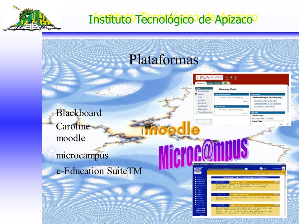 Instituto Tecnológico de Apizaco Plataformas Blackboard Caroline moodle microcampus e-Education SuiteTM