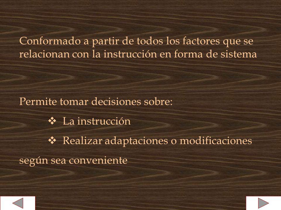 Permite tomar decisiones sobre: La instrucción Realizar adaptaciones o modificaciones según sea conveniente Conformado a partir de todos los factores que se relacionan con la instrucción en forma de sistema