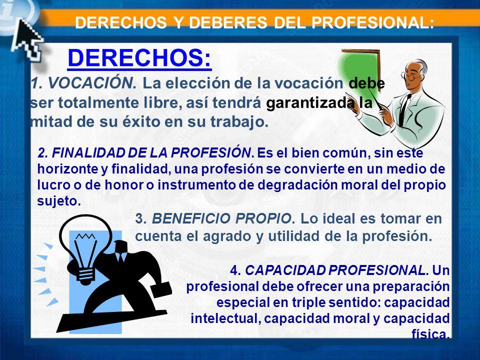 DERECHOS Y DEBERES DEL PROFESIONAL: DERECHOS: 1.VOCACIÓN.