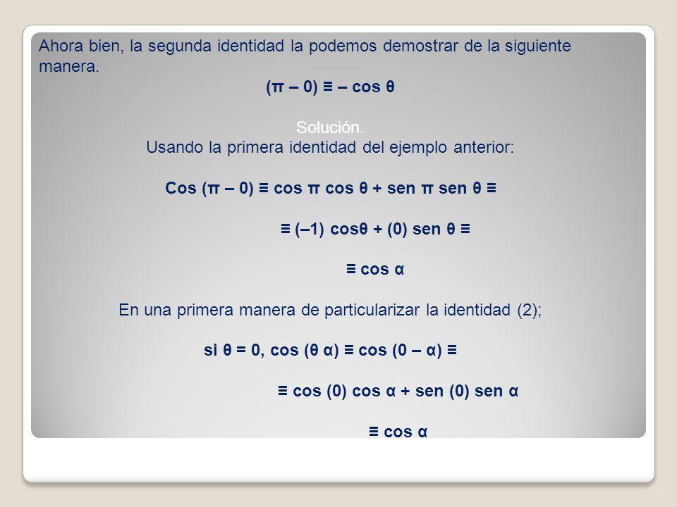 Ahora bien, la segunda identidad la podemos demostrar de la siguiente manera. (π – 0) – cos θ Solución. Usando la primera identidad del ejemplo anteri