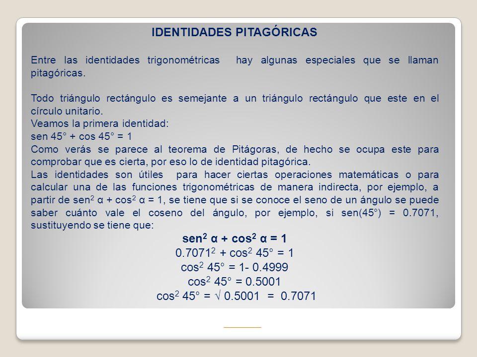 IDENTIDADES PITAGÓRICAS Entre las identidades trigonométricas hay algunas especiales que se llaman pitagóricas. Todo triángulo rectángulo es semejante