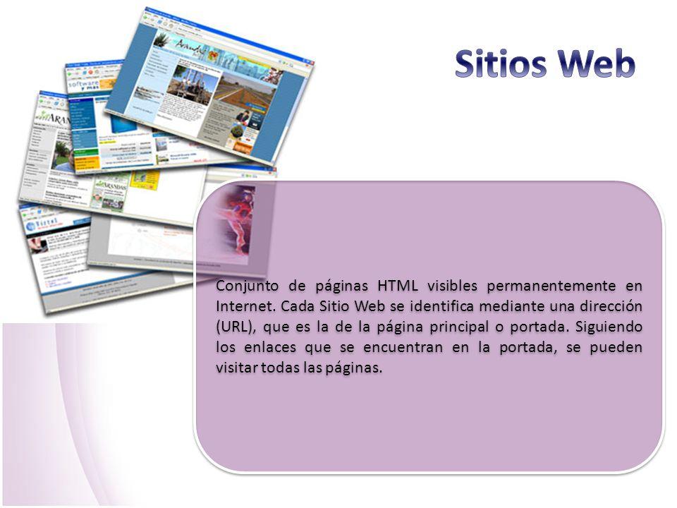 Conjunto de páginas HTML visibles permanentemente en Internet. Cada Sitio Web se identifica mediante una dirección (URL), que es la de la página princ